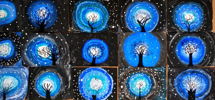 """Kunstunterricht: """"Winterbäume"""""""