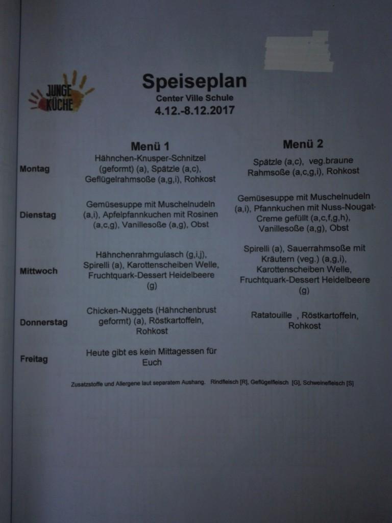 2017-12-4 Speiseplan